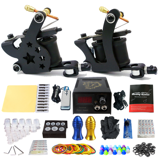 Solong Tattoo Pro Tattoo Kit 2 Rorary Tattoo Machine Gun Power Supply 1 Practice Skin Dual-sided Re-usable One Set TK202-21