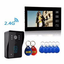 Super waterproof  HD Wireless 2.4G 7″ Video Door Phone Intercom System 1 RFID Keypad Code Number Doorbell One Camera One Monitor