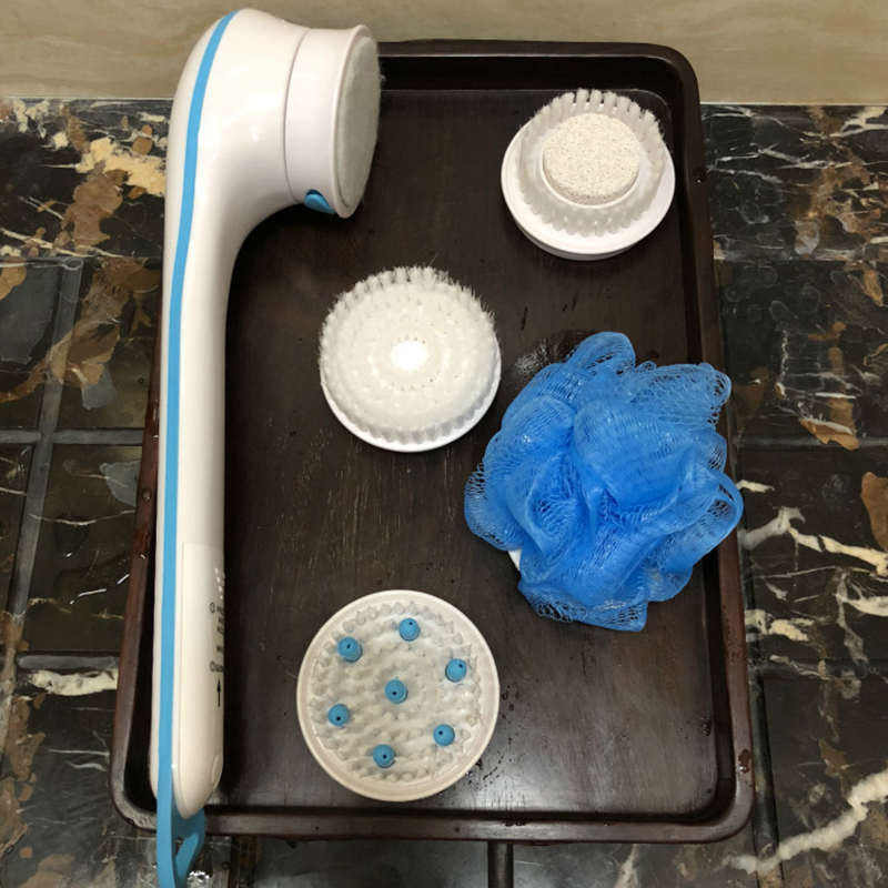 5 in1 ducha eléctrica cepillo de mano vuelta SPA masaje limpieza cepillo de baño resistente al agua de mango largo de la atención de la salud de la herramienta