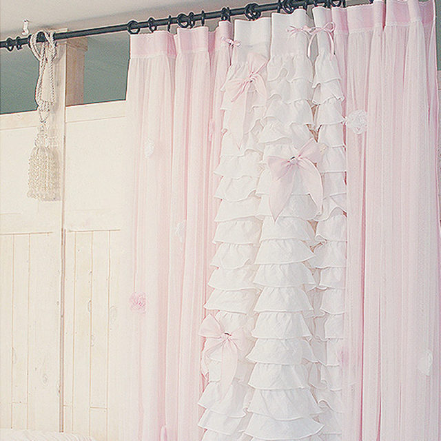 Attirant Swan Romantic Bedroom Curtains Drapes Window Lotus Leaf Cake Layers Curtain  For Living Room Wedding Decoration