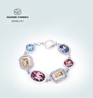 Warme Farben Newest Women Charm Bracelets Classic Crystal from SWAROVSKI ZIRCON Colorful Fine Jewelry Bracelet Gifts for Lady