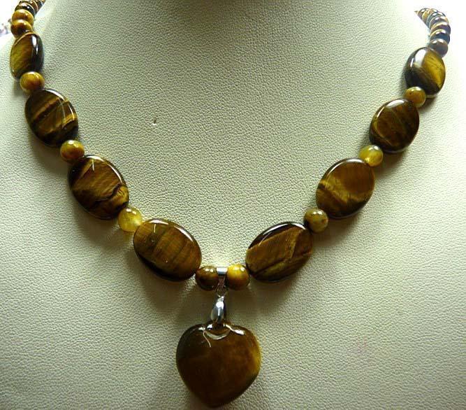 d0ccb12ee الأزياء والمجوهرات العصرية الجميلة الطبيعية عين النمر قلادة القلب قلادة  هدية ل فتاة النساء هدية عيد 13*45 سنتيمتر 17 ED105