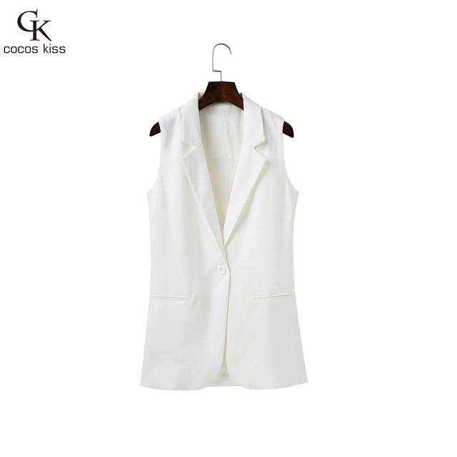 2016 Novos casuais todo o jogo colete Branco turn-down collar sem mangas um botão bolso do colete mulheres