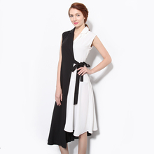 2016 Summer Women Sexy Dress V Neck Sleeveless Belt Patchwork Chiffon Elegant Evening Party Night Club Dresses Robe Femme 1484