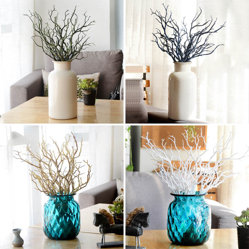 Fashion Wedding Dried Tree Home Decor Peacock Coral Foliage Branches
