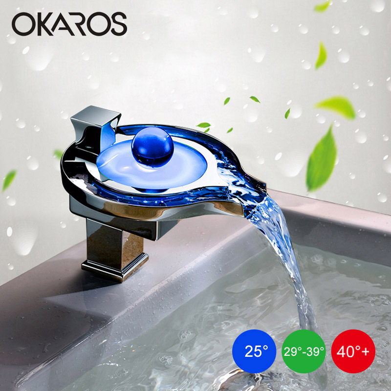 OKAROS LED Robinet LED Salle De Bains Bassin Robinet En Laiton Chrome Fini LED Cascade Robinets de Bassin D'eau D'alimentation LED Robinet Mélangeur Torneira