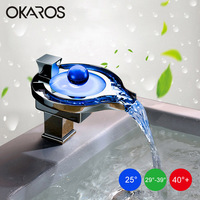 Free Shipping Led Faucet Bathroom Basin Faucet Brass Chromed LED Waterfall Taps Water Power Basin Led