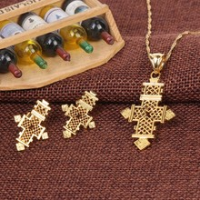 Bangrui ethiopian cross sets jewelry necklace pendant/earrings habesha set, gold color africa wedding eritrea
