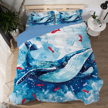 Underwater world Whale Bedding Sets 3pcs soft blue Comfortable bedclothes duvet cover quilt cover pillow cases Home textiles