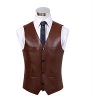 2017 Men Leather Vest Fashion High Quality Sheepskin Leather Vest Of Cultivate One S Morality