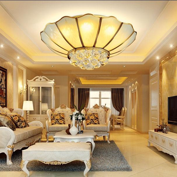 European style led crystal lamp ceiling lamp living room