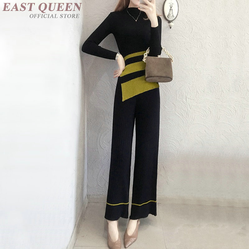 Top selling women two pieces pant suits full sleeve strips slim turtleneck pullover and wide leg pant loose bottoms AA3357 F cropped wide sleeve top