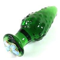 2017 Nuovo Particelle di Grandi Dimensioni g spot stimolatore spina anale di vetro verde dilatatore dildo giocattoli del sesso per la donna uomini gay butt plugs buttplug