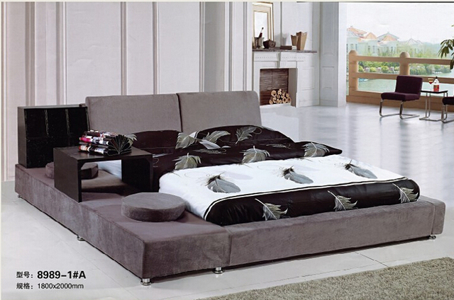 king size bedroom furniture Genuine leather soft bed bedroom furniture tatami soft bed 0964