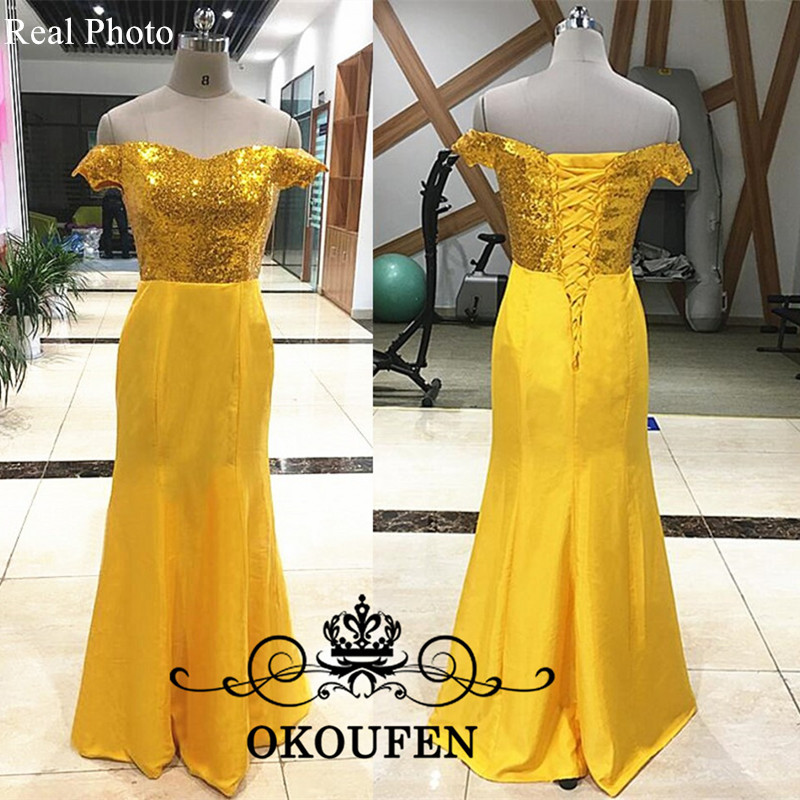Dresses Top-Bridesmaid Sequined Mermaid Gold Off-Shoulder Yellow Women Party Vestidos