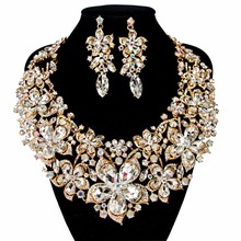 LAN PALACE african beads necklace jewelry set big austrian crystal necklace and earrings wedding necklace free shipping