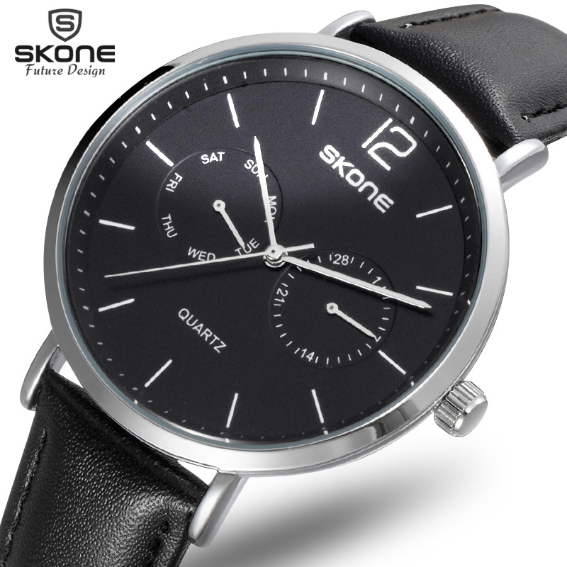 SKONE 2017 Pirate Series Multi-Functional Fashion Men Watch 5 Hands 24 Hours Casual Genuine Leather Watch Men reloje masculino цена и фото