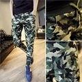 Pantalones de los hombres Pantalones Casuales Cono Delgado Lápiz Largo Pantalones de Los Hombres Verdes del Ejército Pantalones de Camuflaje