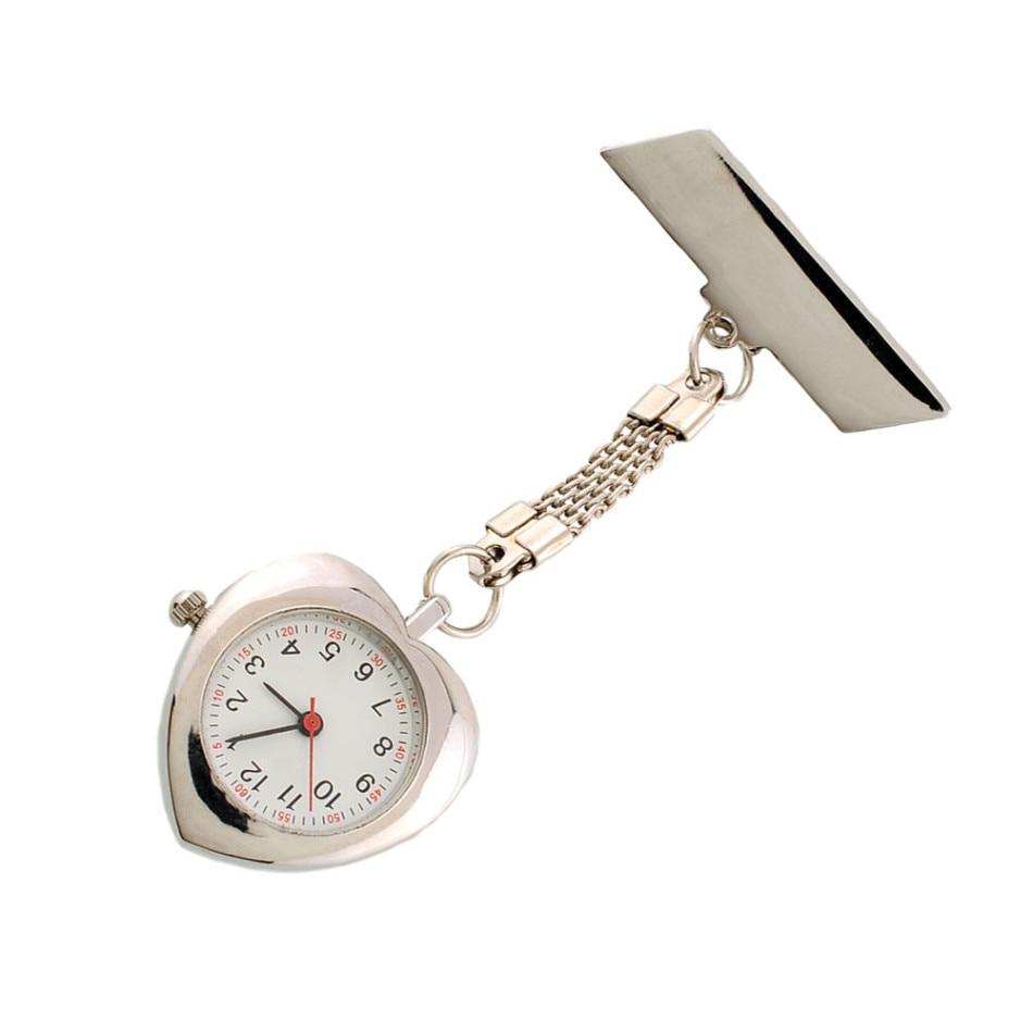 Silver Nurse Watch Pocket Watch Stainless Steel Watch Band Clip Pocket Heart Nurse Watch Delicate Quartz