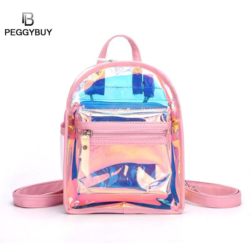 2pcs/set New Fashion Clear See Through PVC Mini Backpack Women Teenager School Book Bag Laser Jelly Transparent Backpack Clutch
