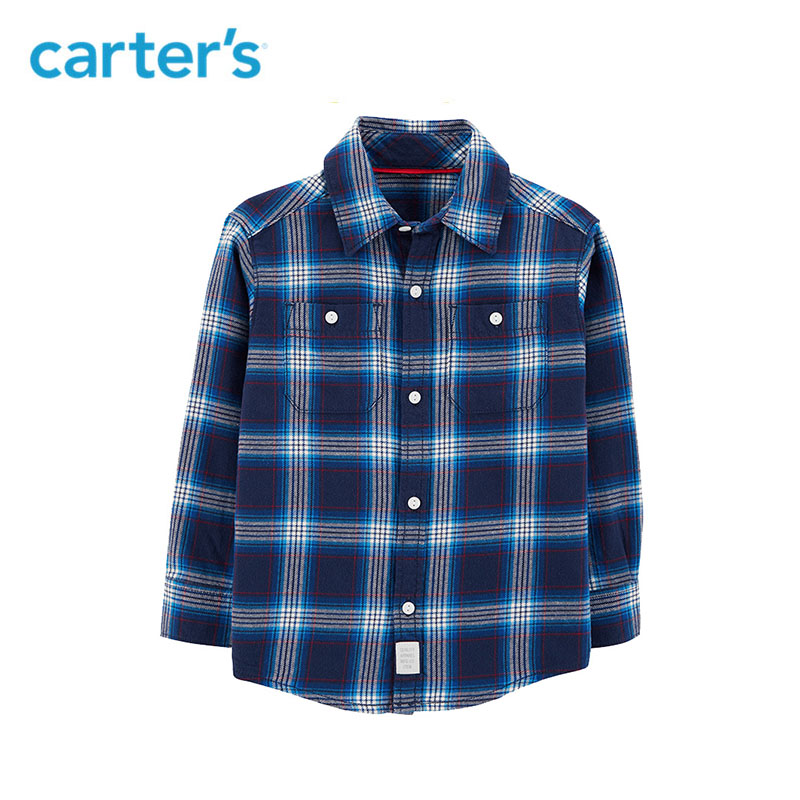 Carter's Plaid Twill Button-Front Shirt Casual long sleeve turn down neck autumn winter boys shirt kids clothes 243H912/243H913 цена 2017