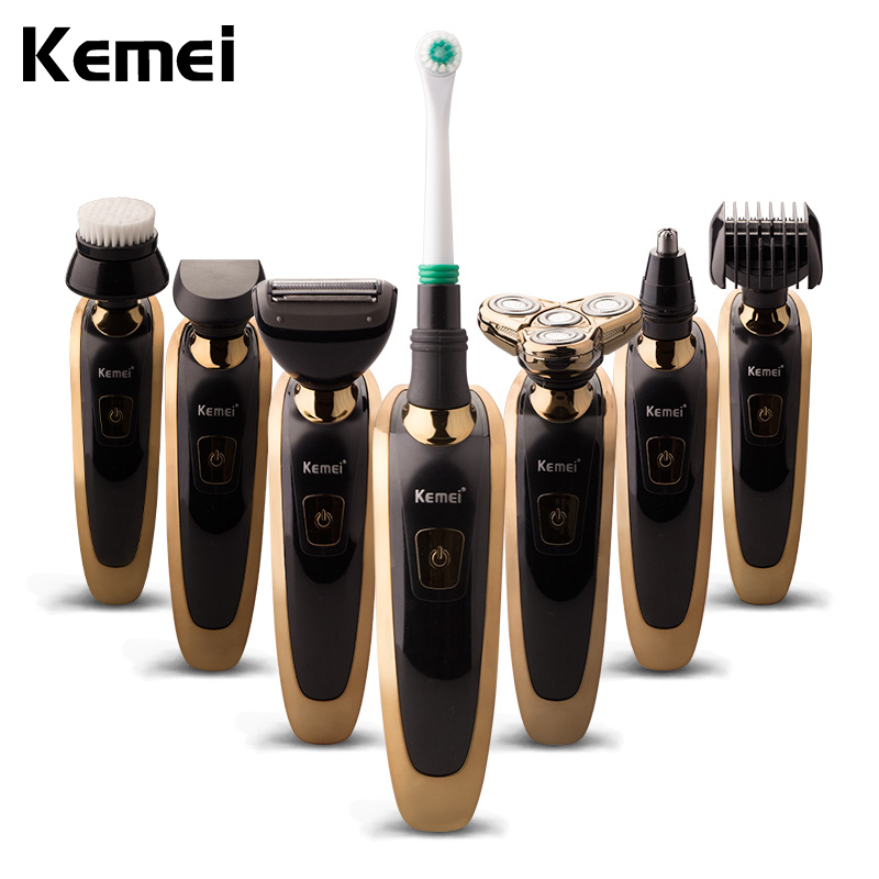 Kemei 7 in 1 Multifunction Comprehensive Floating Waterproof Razor 3D Rechargeable Electric Shaver Triple Blade Men Face Care