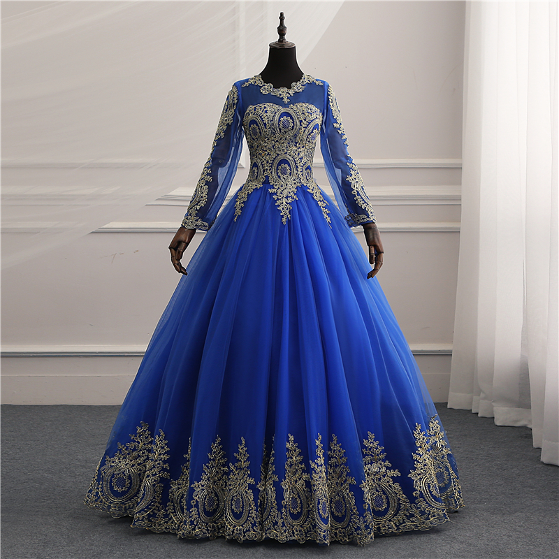 New Vestidos de Noiva Royal blue tull