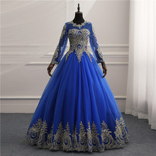 New Vestidos de Noiva Royal blue tull Vintage Long Sleeves Wedding Dress  Gold Lace Embroidery Appliqures Bride wedding Bride 933753807706