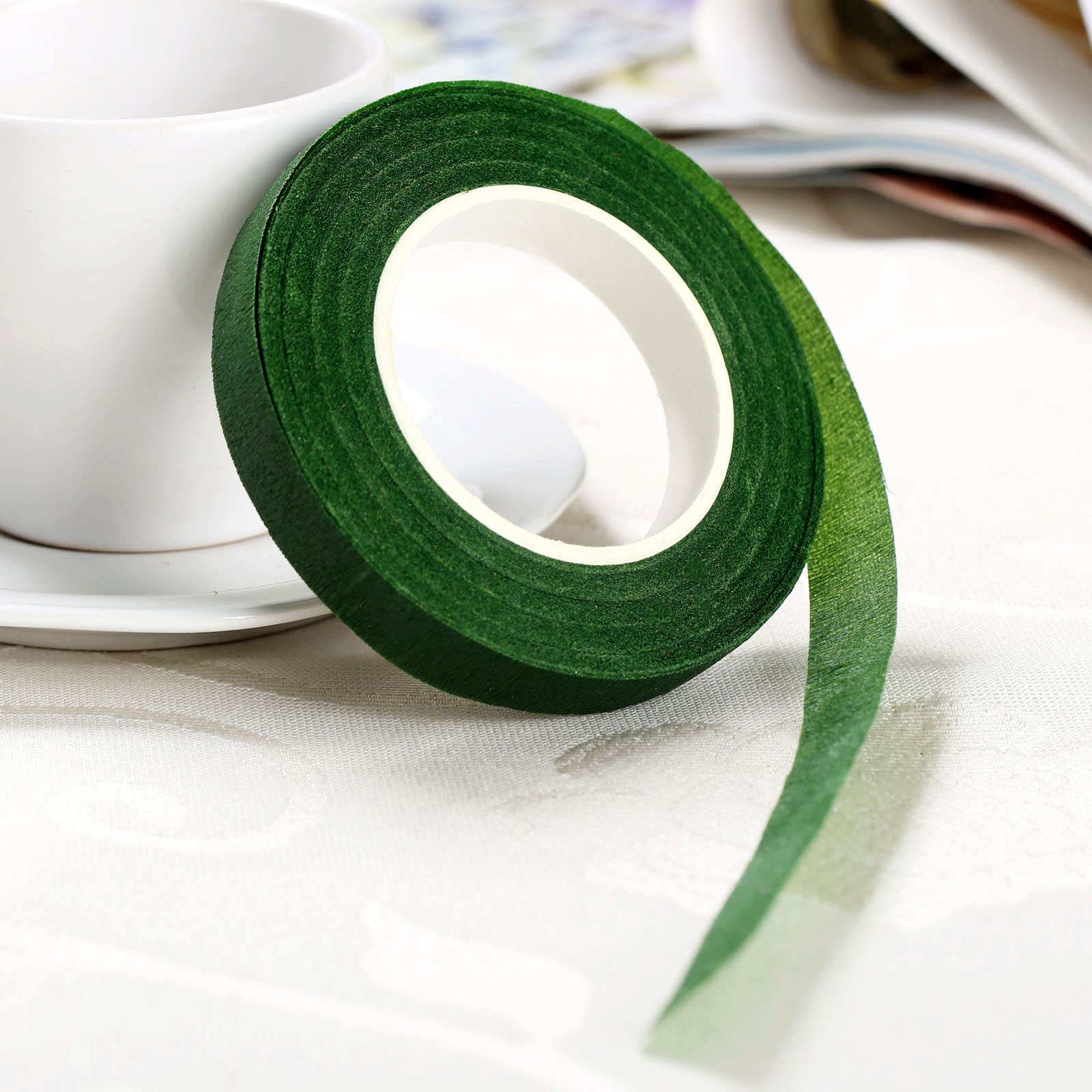 dophee 12mm dia 30 yard Self adhesive Tape Florist Stem Tape Wire ...