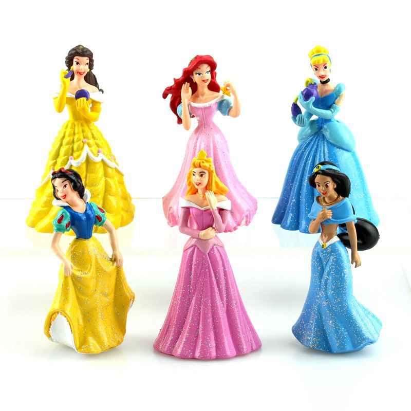 6Pcs Anime Cartoon Princess doll Snow White Ariel Cinderella Cake Toppers Toys