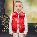 New Year Christmas Festival Chinese Traditional Tang Style Sleeveless Show Performance Winter Red/Yellow Lovely Vests