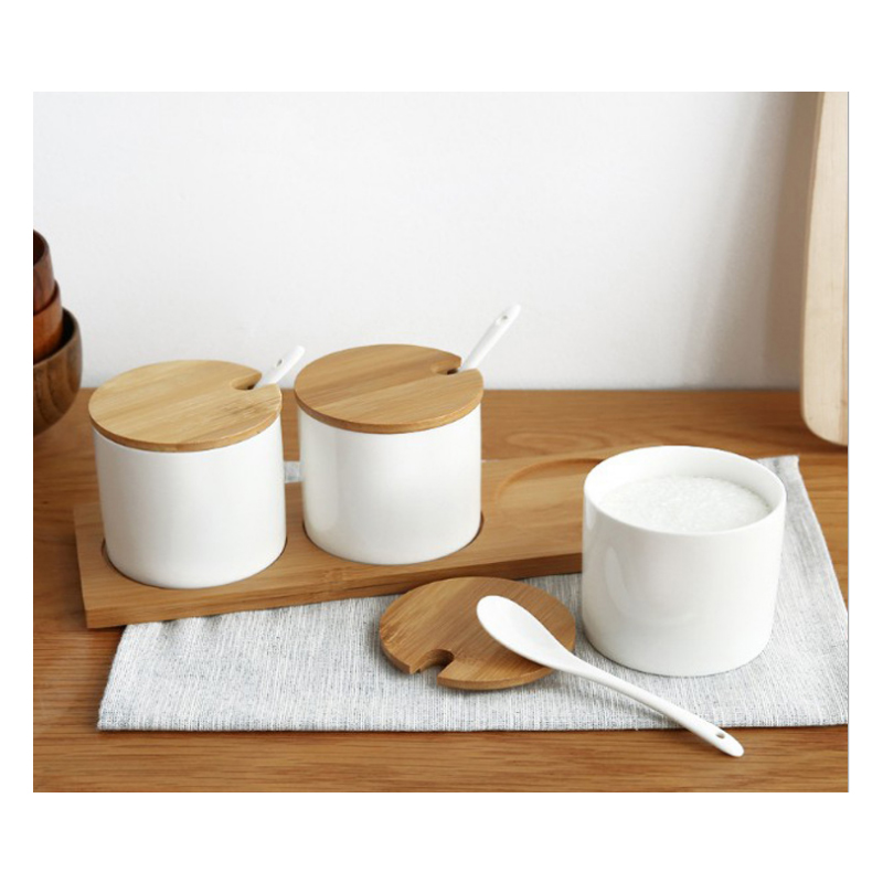 RSCHEF 1 pcs Three pieces of ceramic seasoning can be assembled with bamboo and wooden support kitchen supplies