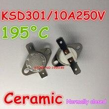 Керамический Термостат KSD301, 10 шт./лот, 10A, 250 В, 195 градусов, 195 C