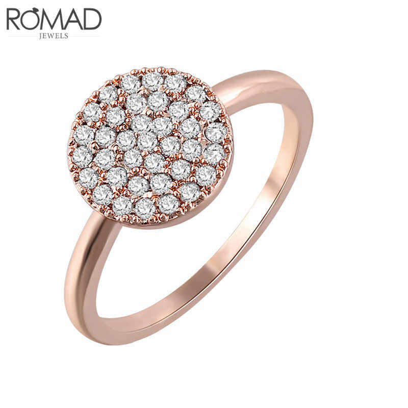 GS Geometric Round Coin Engagement Rings For Women Rose Gold Color Full Cz Zircon Engagement Jewelry Dropshipping Bague Femme R1
