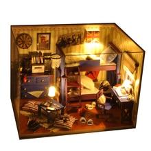 Mini doll house kids toy furniture miniatura diy doll houses miniature dollhouse wooden handmade toys birthday gift TW4