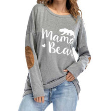 ec7e55ef Female Elbow Patch Loose Tops Tee Shirt Women Mama Bear Letter Print Round  Neck Casual Top