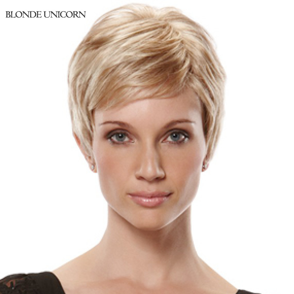 Blonde Unicorn New Arrival Short Human Hair Wigs For Women Side Bang Human Hair Wig Blond Wig Customized Global Free Shipping