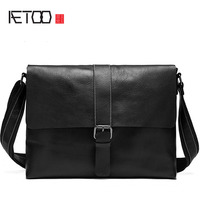 AETOO Genuine leather men bag fashion casual shoulder bag Messenger bag men bag purse business vintage postman package tide