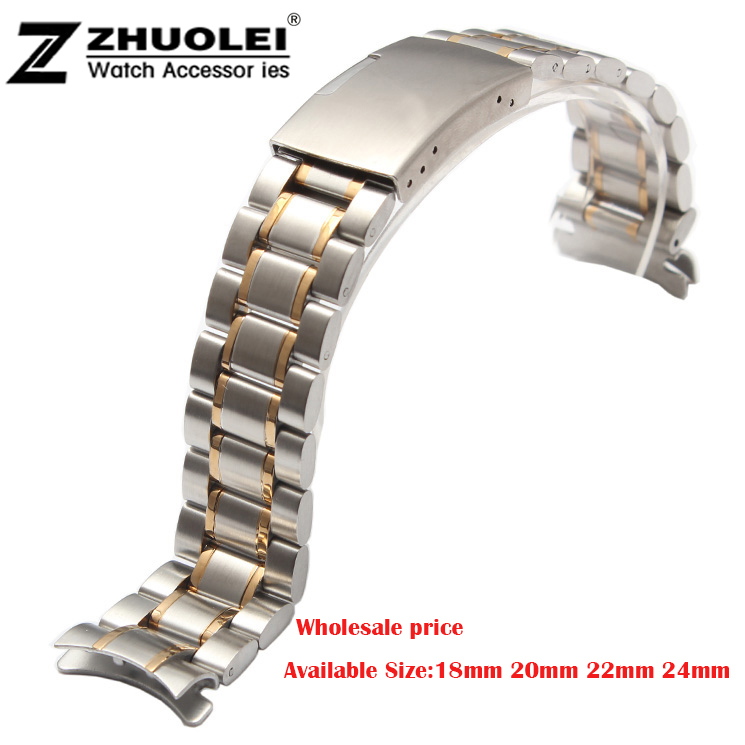 New Unisex 18mm 20mm 22mm 24mm Silver/Gold Stainless Steel Watch Band Strap Bracelet Solid New Curved End new mens rose gold watch band 16mm 18mm 20mm 22mm 24mm silver black stainless steel watch band strap straight end bracelet