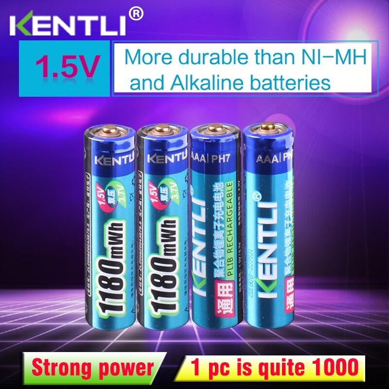 Tüketici Elektroniği'ten Yedek Piller'de KENTLI 4 adet hiçbir hafıza etkisi 1.5v 1180mWh AAA lityum li ion şarj edilebilir piller pil termometre title=