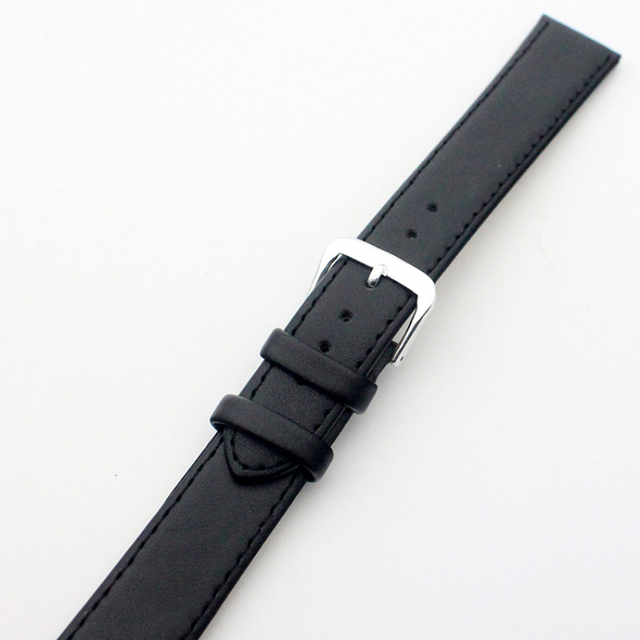 Way Deng - Women Men Generic Vintage Soft Plain Black PU Leather Wrist Watch Band Two-piece Strap Watchbands Accessories - Y031