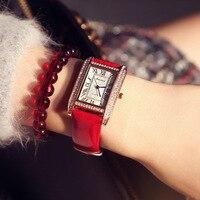 Nouveau célèbre marque femmes montre design de mode rectangulaire diamant montres dames occasionnels montres à quartz en cuir Zegarek Damski
