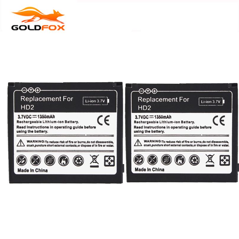 GOLDFOX 2pcs Battery For <font><b>HTC</b></font> <font><b>HD2</b></font> Touch <font><b>HD2</b></font> <font><b>T8585</b></font> <font><b>HTC</b></font> LEO Cell Phone 1350mAh Rechargeable Lithium-ion Batteries Bateria image