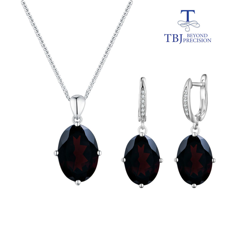 TBJ black garnet set jewelry natural gemstone with 925 sterling silver simple style fine jewelry for