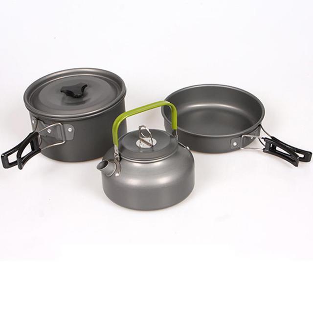 1set Aluminum High Quality Outdoor Cookware Set Picnic Cook Cooking Pot Teapot Fc28