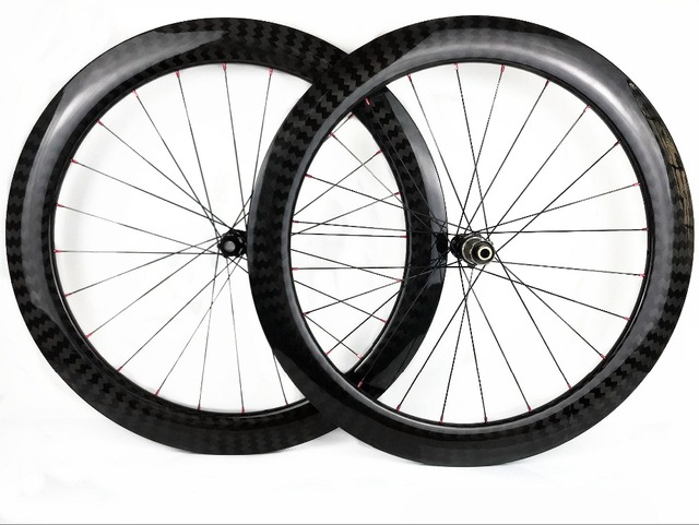 60mm עומק 25mm רוחב דיסק בלם פחמן גלגלי נימוק מכריע/צינורי Cyclocross אופניים פחמן זוג גלגלים עם 411/ 412CL רכזות 12 K אריג