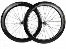 60mm derinlik 25mm genişlik disk fren karbon tekerlek perçini/Tübüler Cyclocross Bisiklet karbon tekerlekler et 411/412CL hub 12 K dimi