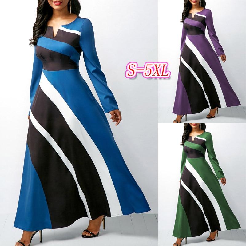 2019 New Elegent Fashion Style Summer Women Beauty Plus Size Long Sleeves Long Dress S-5XL