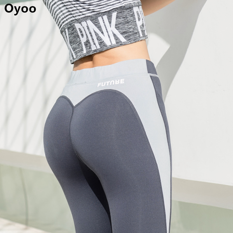 Oyoo heart shape exercise gym tights sexy butt contrast sport athletic leggings women grey jogging yoga pants gym clothes eurosvet бра eurosvet 3201 1 хром белый