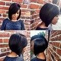 Кружева перед боб парики Бразильского виргинские человеческих волос Шелковистая Прямая кружева перед парики человеческих волос парики для чернокожих женщин может регулируемая
